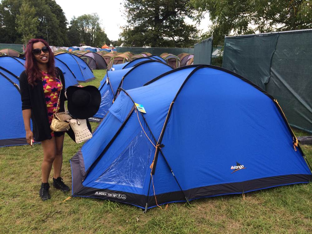 Bianca outside the Tangerine Fields tent
