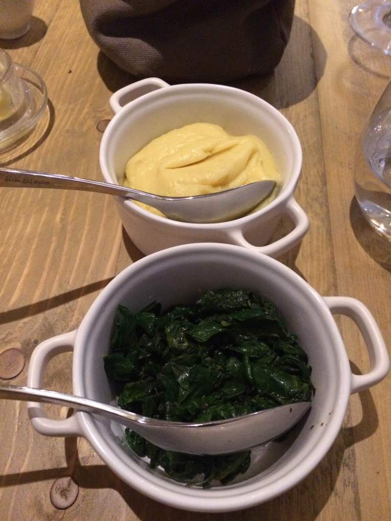 Spinach and truffle mash for sides
