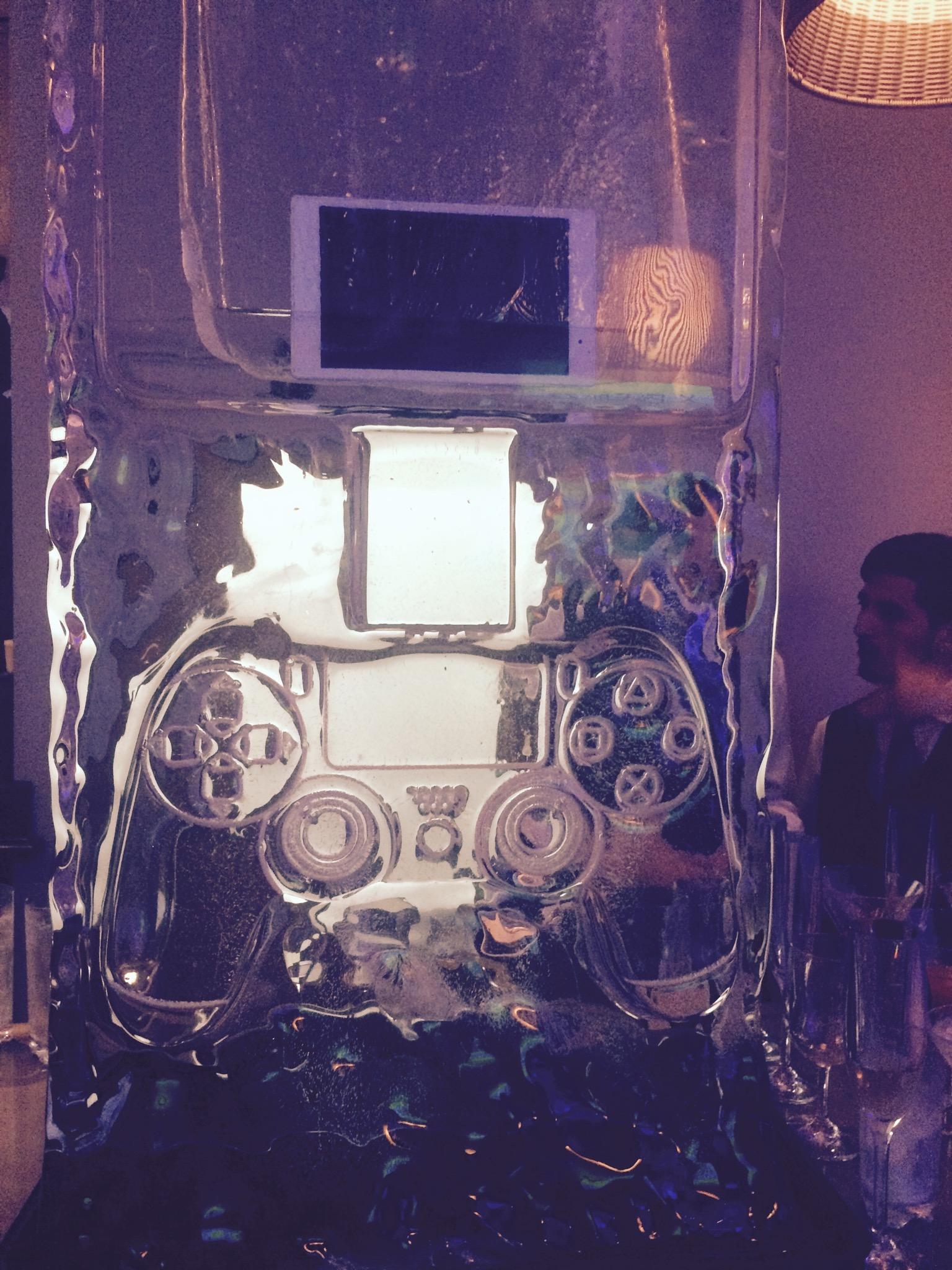 Playstation Ice sculpture at the bar