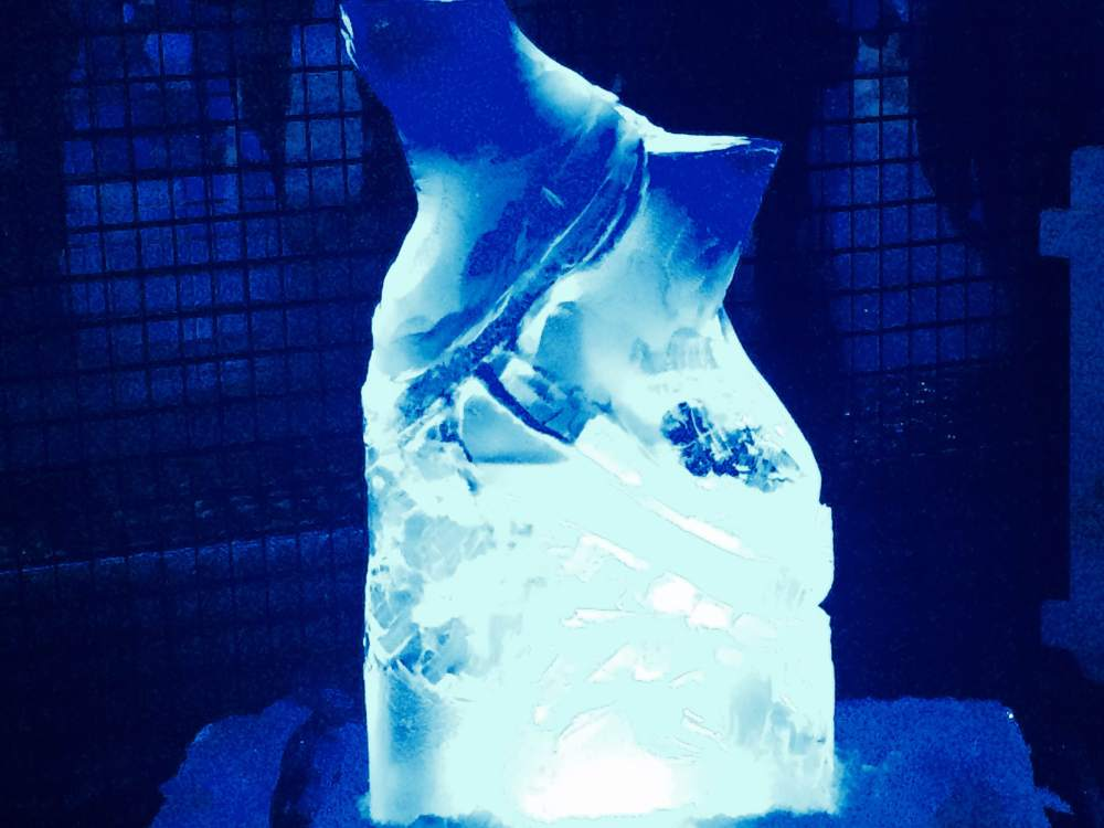 Ice carving took place for two hours