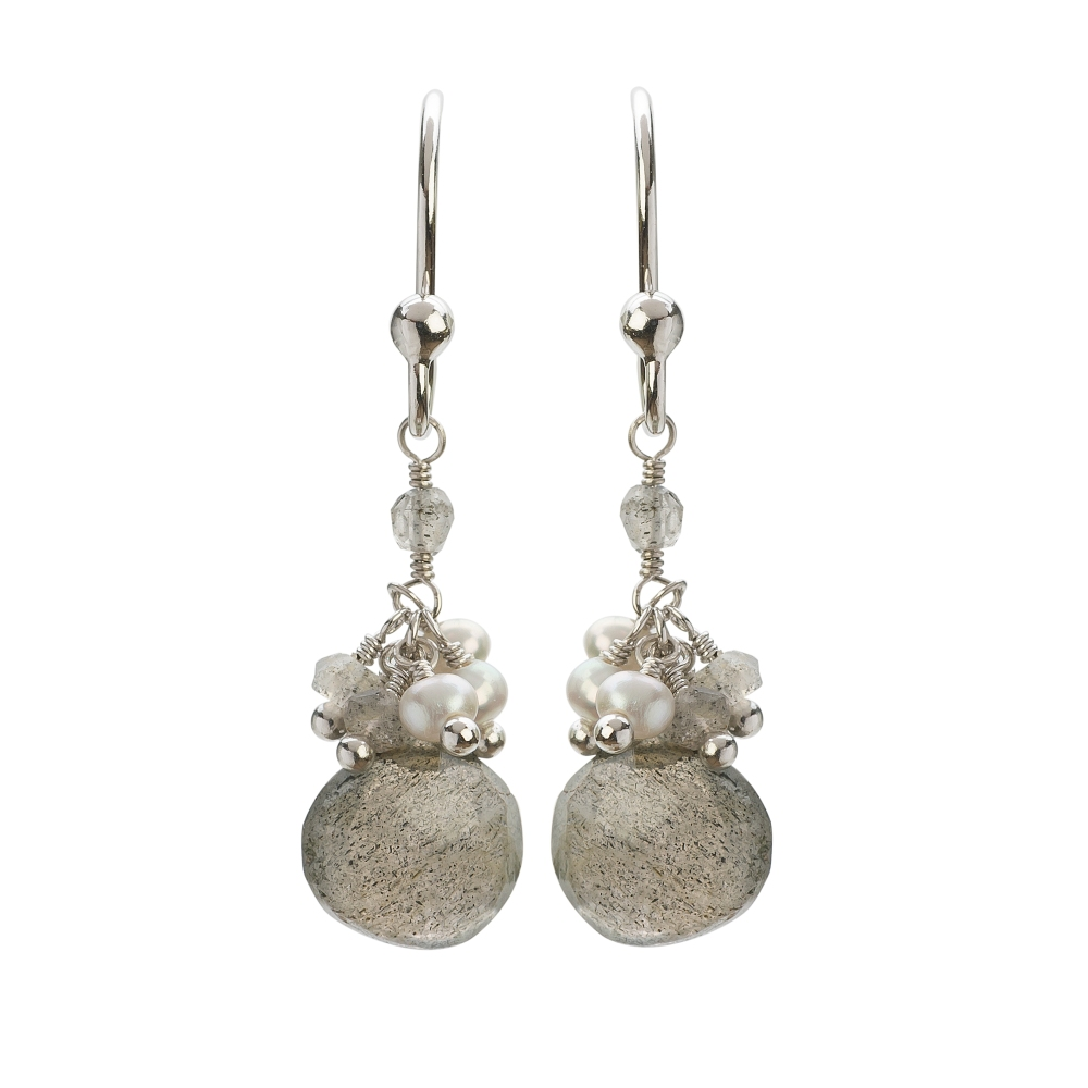 Cari Silver Labradorite Short Drop Earrings