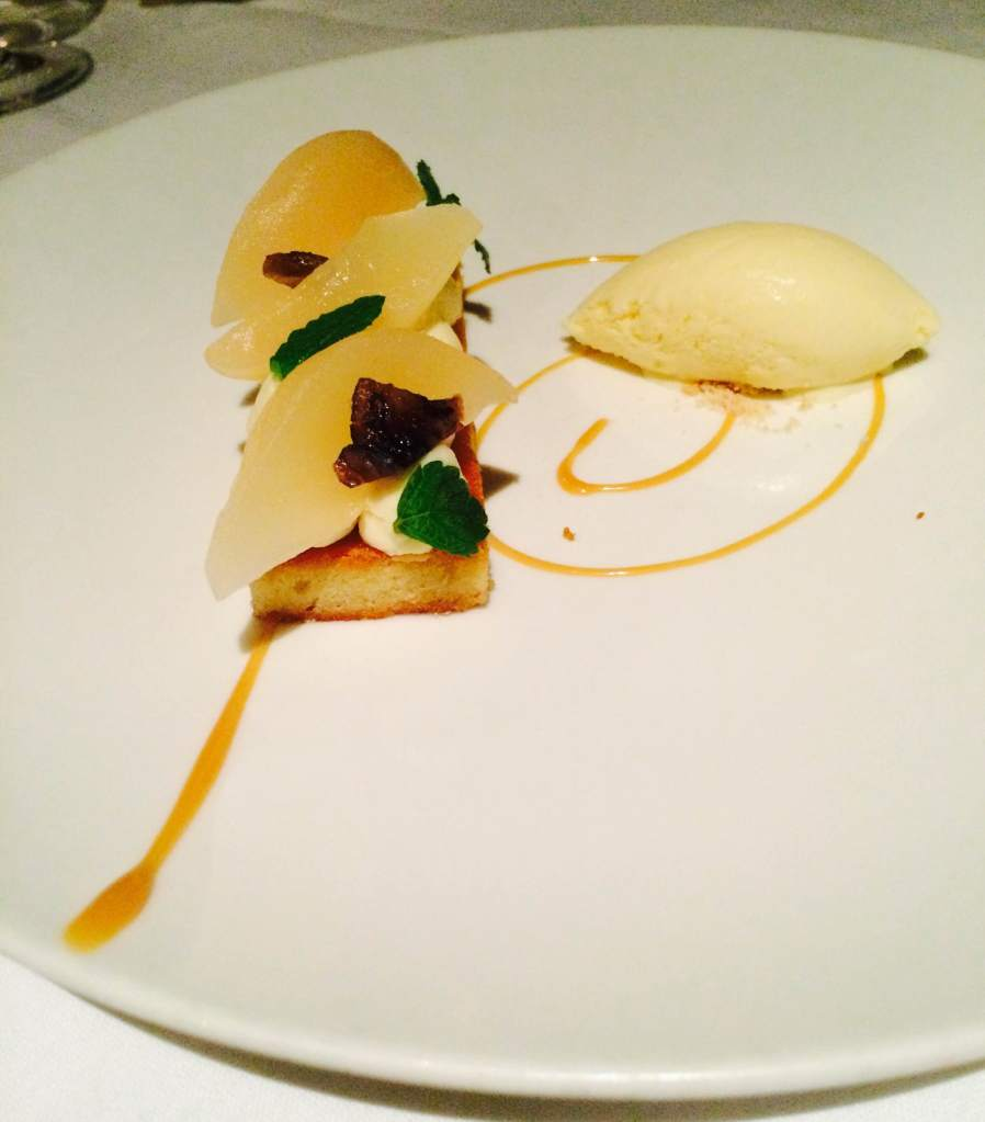 Almond sponge, cheese cake and pear with ice cream