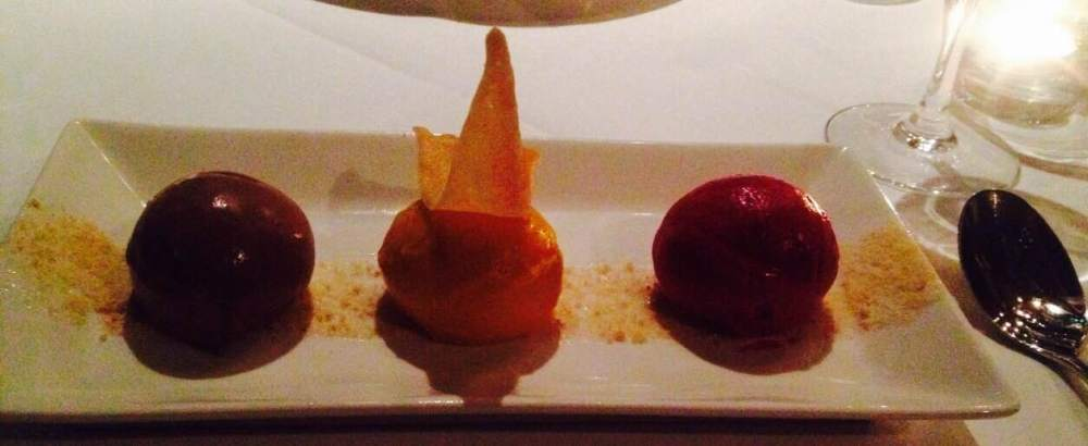 Chocolate, raspberry and mango sorbets and ice cream