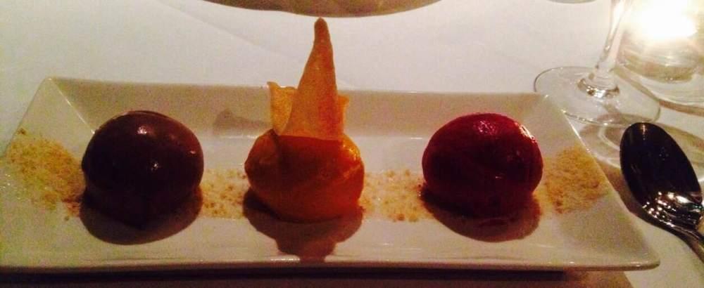 Chocolate, raspberry and mango sorbets and ice cream