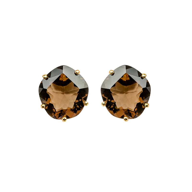 Talya Yellow Gold Smokey Quartz Studs